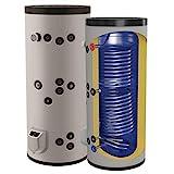 150 200 300 500 750 1000 L Liter kombinierter Warmwasserspeicher mit 2 Wärmetauschern und 3 9 12 kW...