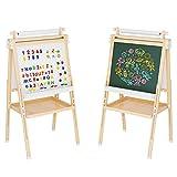 Homfastyle Kinder Staffelei höhenverstellbar Kreidetafel für Kinder Kindertafel Spieltafel mit...