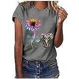 T-Shirt Damen mit O-Ausschnitt T-Shirt Bluse Tops Frauen Casual Letter Printing Kurzarm O-Neck Loose...