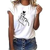 Mingyun Damen Kurzarm T-Shirt Mode Motiv Shirt Sommer Oberteile Casual Rundhals Blickdicht Tshirt...