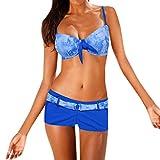 Bikini Set für Damen Retro Gebatikt Geteilter Badeanzug Schleife Push Up Bikinioberteil und...