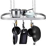 Aquaterior Deckenhalterung Kochgeschirr Regal mit 12 Haken Pfanne und Topf Oval Regal Home