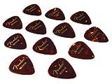Fender 351 Picks Plectrum 12er Pack (Wurzelholz Design, Stärke Medium)