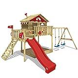 WICKEY Spielturm Klettergerüst Smart Coast mit Schaukel & roter Rutsche, Stelzenhaus mit...