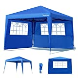 Viewee Pavillon 3x3 Wasserdicht - Faltpavillon mit 2 Seitenteilen und Fenster, UV 50 Schutz,...