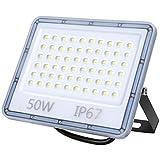 50W LED Strahler Außen, 5000LM LED Fluter, IP67 Wasserdicht Außenstrahler Flutlicht, 6500K...