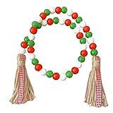 Wongfon Weihnachten Holzperlen, 36 '' Holzperle Girlande Bauernhaus Rustikale Perlen mit Juteseil...