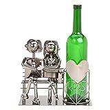 Wein Flaschenhalter Liebespaar auf Bank - Weinflaschenhalter Metall mit Figuren als Geschenk oder...