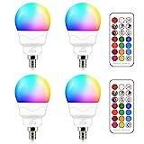 E14 Led Lampe 5W (ersetzt 40W) RGBW mit Fernbedienung Warmweiß 2700K Ambiente RGB Farbwechsel...
