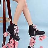 2020 Kunstleder-Rollschuhe, Doppellinie, für Damen und Herren, Erwachsene, zwei Leinen, Skateschuhe...