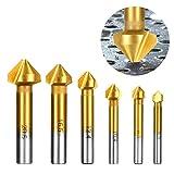 90° Kegelsenker Set, HSS 4241 Senker Sats mit Titan Beschichtete für Holz und Weichem Metall 6...
