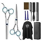 Frcolor Haarschere Set friseur schere ausdünnen Haarschnitt Modellierschere mit friseurumhang,...