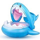 Flyboo Baby Schwimmring Aufblasbarer Hai Schwimmsitz Kinderboot Kinder Schwimmhilfe mit Sonnenschutz...