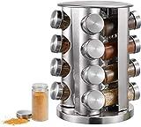 Gewürzregal Küchenregal Gewürz-Ständer Gewürzkarussel mit 16 Gewürzgläsern, Gewürzdosen zum...