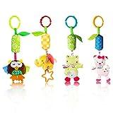 Baby Kinderwagen Spielzeug, 4 Teile Plüschtier mit Klingelglocke eingebauten BB-Gerät,...