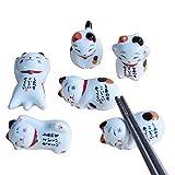 Essstäbchenhalter mit niedlicher Glückskatze; japanische Keramik-Essstäbchen; Pflege-Keramik;...