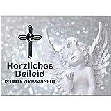1 x Beileidskarte mit Umschlag/Motiv Herzliches Beileid Engel/Beerdigung, Trauer, Sterbefall,...