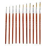 Gyubay Malerpinsel Set 11pcs Nylon Wolle Feine Haken-Linie Schreibset mit Papierkasten Copper Tube...