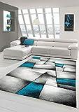 Designer Teppich Moderner Teppich Wohnzimmer Teppich Kurzflor Teppich mit Konturenschnitt Karo...