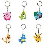 JAHEMU Schlüsselanhänger Kinder für Pokemon Pikachu Partydekoration Schlüsselanhänger Set...