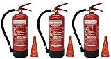 3 x 6 kg Feuerlscher EN3 ABC Pulver Messingarmatur + Sicherheitsventil + Manometer + Standfu +...