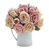 CQURE Künstliche Blumen,kunstblumen Unechte Deko Blumen Künstliche Rosen Seidenrosen Plastik 9...
