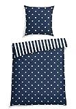 Schiesser Bettwäsche Sterne Blau, 100% Baumwolle, Größe:155 cm x 220 cm + 80 x 80 cm