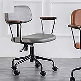 VBARV Mid Zurück Leder Büro Chefsessel, Qualitäts-Leder-Stoff, mit Platz Rückenlehne und Holz...