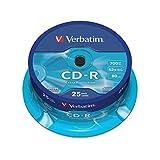 Verbatim CD-R Extra Protection 700 MB I 25er Pack Spindel I Oberfläche weiß I CD Rohlinge I...