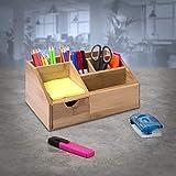 Woodluv Bambus-Schreibtisch-Butler, Stiftehalter, Briefablage, Tablet, multifunktional, 24,5 x 15 x...
