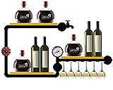KDMB An der Wand montiertes Weinregal für Weinflaschen Stemware Gläser Elegante Holzlagerung...