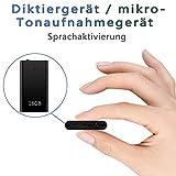 Mini Digitales Diktiergerät | Mini Aufnahmegerät 16GB |192Stunden | Stimmenaktivierung&mikrofon |...