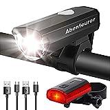 Abenteurer Fahrradlicht LED USB Set, Fahrradlampe Zugelassen Vorne Fahrradbeleuchtung, Aufladbar...