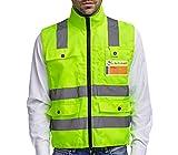 Warnweste Sicherheitsweste mit Reiverschluss XL | Hohe Sichtbarkeit | Groe Taschen | Reflektierende...