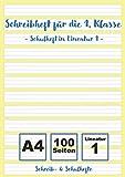 Schreibheft 1. Klasse - Schulheft Lineatur 1: Schreibheft für die 1. Klasse in Lineatur 1 | 100...