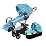 ZCZZ Kinderwagen Kinderwagen 3 in 1 Baby Trolley Autositz Kinderwagen, mit verstellbarem...