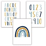 Pandawal Kinderzimmer Deko Bilder 3er Poster Set Baby ABC Zahlen Buchstaben Regenbogen Babyzimmer...
