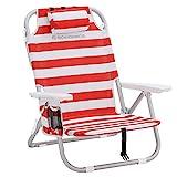 SONGMICS Strandstuhl mit Kühltasche, Aluminium, Flaschenhalter und Kopfkissen, Klappstuhl,...