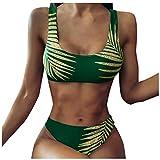 Golden Blätter Drucken Zweiteilige Badeanzug Damen Sport Bikini Set Geteilter Badeanzug...