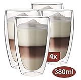 Maxxo Doppelwandige Gläser Laté Macchiato Set 4X 380 ml Kaffee Thermogläser mit Schwebe-Effekt...
