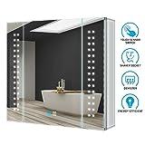 Tokvon 65x60cm Spiegelschrank LED Badezimmer Spiegelschrank mit Beleuchtung Wandschrank Licht...