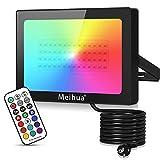 MEIHUA 60W RGB Strahler mit Fernbedienung RGB Fluter 12 Farben 2 Modi Dekorative Lichte Memory...
