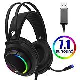 Gaming Headset 7.1 Surround Sound USB 3.5mm verdrahtete Spielkopfhörer mit Mikrofon Stereo LED...