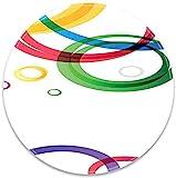 Runde Mausunterlage mit abstrakten lebhaften Ringen auf weißem Hintergrund im abstrakten...