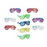 Relaxdays 10 x Partybrille mit LED, Atzenbrille für Karneval und Fasching, Gitterbrille für...