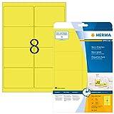 HERMA 5144 Neon-Etiketten DIN A4 (99,1 x 67,7 mm, 20 Blatt, Papier, matt) selbstklebend, bedruckbar,...