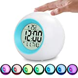 LED Kinderwecker, 7 Farben LED Lichtwecker, 12/24 Stunden Digitaluhr Licht, 7 Wecker Klingeltöne,...