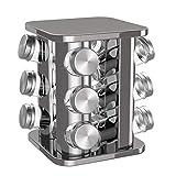 BonVivo Rondo, Gewürzkarussell für 12 Gewürzstreuer, Edelstahl Gewürzregal in Silber-Chrom-Look,...