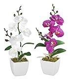 Kunstblume Orchidee, 2er Set in Wei und Lila