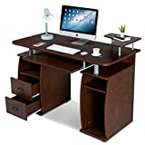 DREAMADE Laptoptisch Arbeitstisch Holz, Computertisch mit Schrank sowie Ablagefläche, Schreibtisch...
